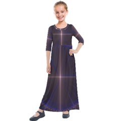 Color Fractal Symmetric Blue Circle Kids  Quarter Sleeve Maxi Dress by Jojostore