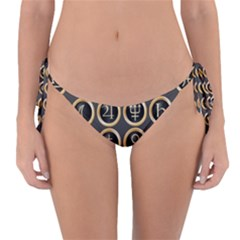 Black And Gold Buttons And Bars Depicting The Signs Of The Astrology Symbols Reversible Bikini Bottom