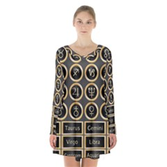 Black And Gold Buttons And Bars Depicting The Signs Of The Astrology Symbols Long Sleeve Velvet V Neck Dress by Jojostore