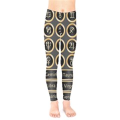 Black And Gold Buttons And Bars Depicting The Signs Of The Astrology Symbols Kids  Legging