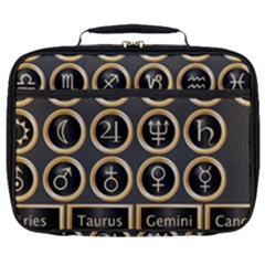 Black And Gold Buttons And Bars Depicting The Signs Of The Astrology Symbols Full Print Lunch Bag