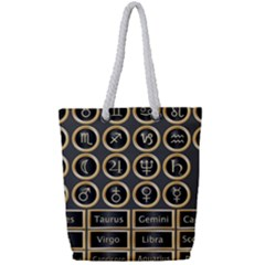Black And Gold Buttons And Bars Depicting The Signs Of The Astrology Symbols Full Print Rope Handle Tote (small)