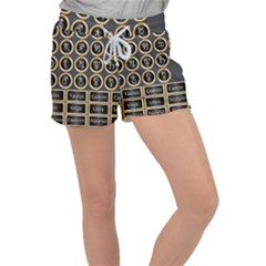 Black And Gold Buttons And Bars Depicting The Signs Of The Astrology Symbols Women s Velour Lounge Shorts