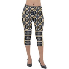 Black And Gold Buttons And Bars Depicting The Signs Of The Astrology Symbols Lightweight Velour Capri Leggings