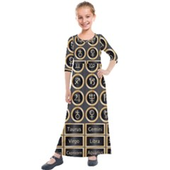 Black And Gold Buttons And Bars Depicting The Signs Of The Astrology Symbols Kids  Quarter Sleeve Maxi Dress