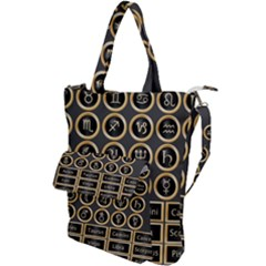 Black And Gold Buttons And Bars Depicting The Signs Of The Astrology Symbols Shoulder Tote Bag