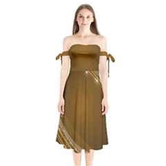Abstract Background Shoulder Tie Bardot Midi Dress