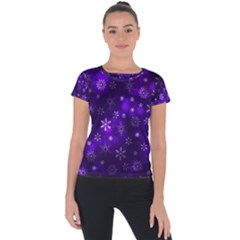 Bokeh Background Texture Stars Short Sleeve Sports Top