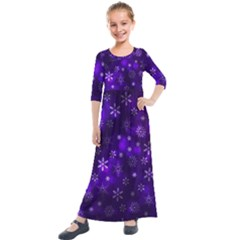 Bokeh Background Texture Stars Kids  Quarter Sleeve Maxi Dress