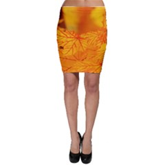 Bright Yellow Autumn Leaves Bodycon Skirt