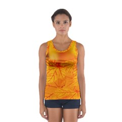 Bright Yellow Autumn Leaves Sport Tank Top