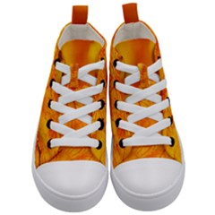 Bright Yellow Autumn Leaves Kid s Mid Top Canvas Sneakers