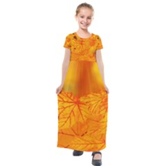 Bright Yellow Autumn Leaves Kids  Short Sleeve Maxi Dress by Jojostore