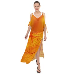 Bright Yellow Autumn Leaves Maxi Chiffon Cover Up Dress by Jojostore