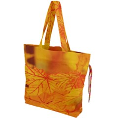 Bright Yellow Autumn Leaves Drawstring Tote Bag by Jojostore