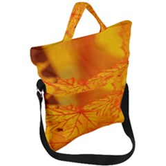 Bright Yellow Autumn Leaves Fold Over Handle Tote Bag by Jojostore