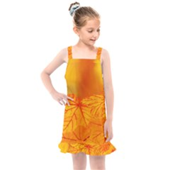 Bright Yellow Autumn Leaves Kids  Overall Dress by Jojostore