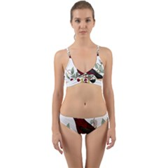 Bird On Branch Illustration Wrap Around Bikini Set