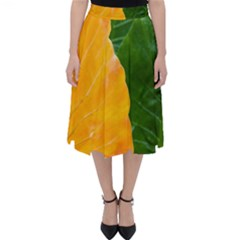 Wet Yellow And Green Leaves Abstract Pattern Classic Midi Skirt