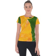 Wet Yellow And Green Leaves Abstract Pattern Short Sleeve Sports Top