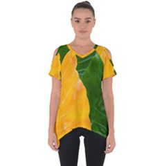 Wet Yellow And Green Leaves Abstract Pattern Cut Out Side Drop Tee
