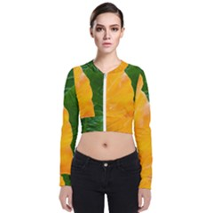 Wet Yellow And Green Leaves Abstract Pattern Zip Up Bomber Jacket