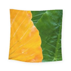 Wet Yellow And Green Leaves Abstract Pattern Square Tapestry (small) by Jojostore