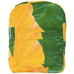 Wet Yellow And Green Leaves Abstract Pattern Full Print Backpack