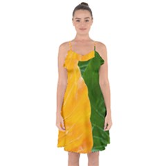 Wet Yellow And Green Leaves Abstract Pattern Ruffle Detail Chiffon Dress