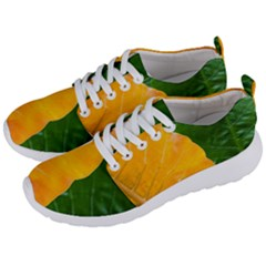 Wet Yellow And Green Leaves Abstract Pattern Men s Lightweight Sports Shoes by Jojostore