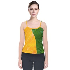 Wet Yellow And Green Leaves Abstract Pattern Velvet Spaghetti Strap Top by Jojostore