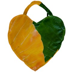 Wet Yellow And Green Leaves Abstract Pattern Giant Heart Shaped Tote