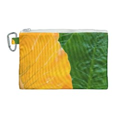 Wet Yellow And Green Leaves Abstract Pattern Canvas Cosmetic Bag (large)