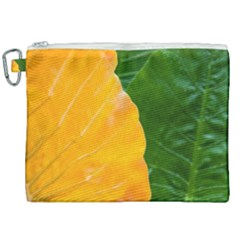 Wet Yellow And Green Leaves Abstract Pattern Canvas Cosmetic Bag (xxl) by Jojostore