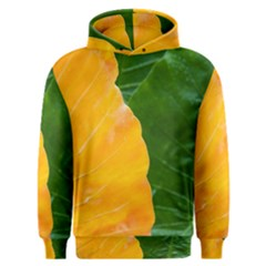 Wet Yellow And Green Leaves Abstract Pattern Men s Overhead Hoodie