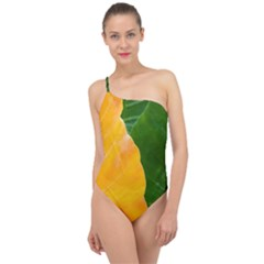 Wet Yellow And Green Leaves Abstract Pattern Classic One Shoulder Swimsuit