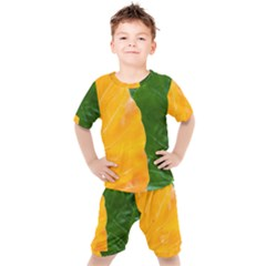 Wet Yellow And Green Leaves Abstract Pattern Kid s Set