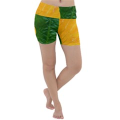 Wet Yellow And Green Leaves Abstract Pattern Lightweight Velour Yoga Shorts