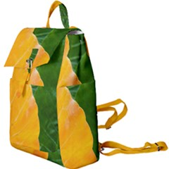 Wet Yellow And Green Leaves Abstract Pattern Buckle Everyday Backpack by Jojostore