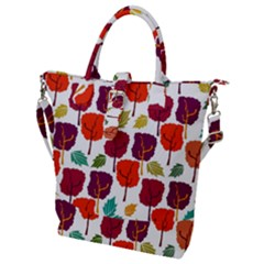 Tree Pattern Background Buckle Top Tote Bag
