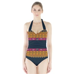 Pattern Ornaments Africa Safari Summer Graphic Halter Swimsuit