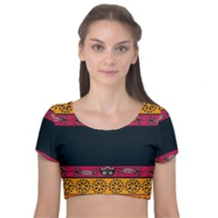 Pattern Ornaments Africa Safari Summer Graphic Velvet Short Sleeve Crop Top