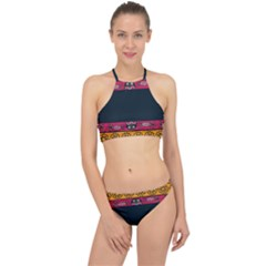 Pattern Ornaments Africa Safari Summer Graphic Racer Front Bikini Set