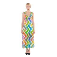 Abstract Pattern Colorful Wallpaper Sleeveless Maxi Dress