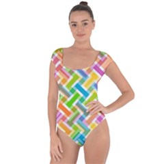 Abstract Pattern Colorful Wallpaper Short Sleeve Leotard