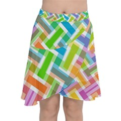 Abstract Pattern Colorful Wallpaper Chiffon Wrap Front Skirt