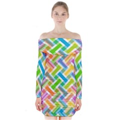 Abstract Pattern Colorful Wallpaper Long Sleeve Off Shoulder Dress