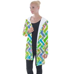 Abstract Pattern Colorful Wallpaper Longline Hooded Cardigan
