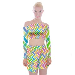 Abstract Pattern Colorful Wallpaper Off Shoulder Top With Mini Skirt Set