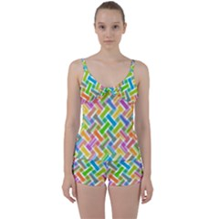 Abstract Pattern Colorful Wallpaper Tie Front Two Piece Tankini